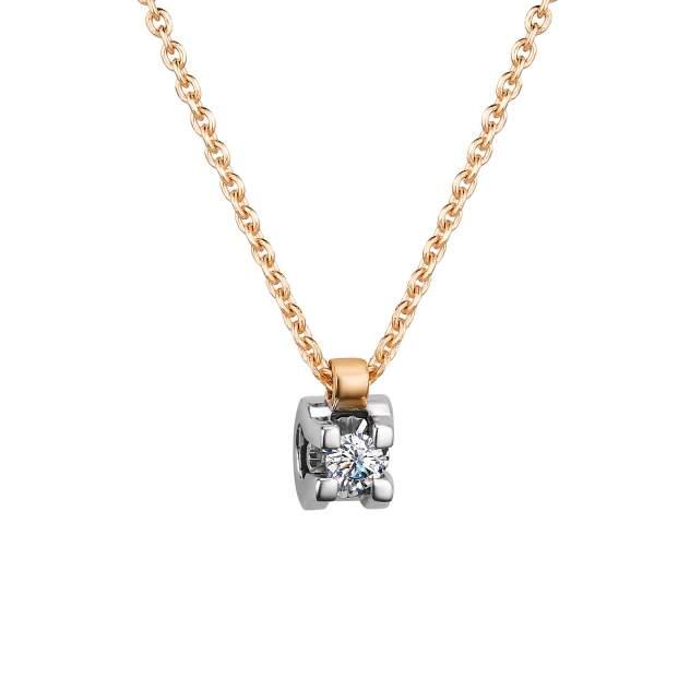 Колье женское АЛЬКОР 64003-100 из золота, бриллиант, 40 см