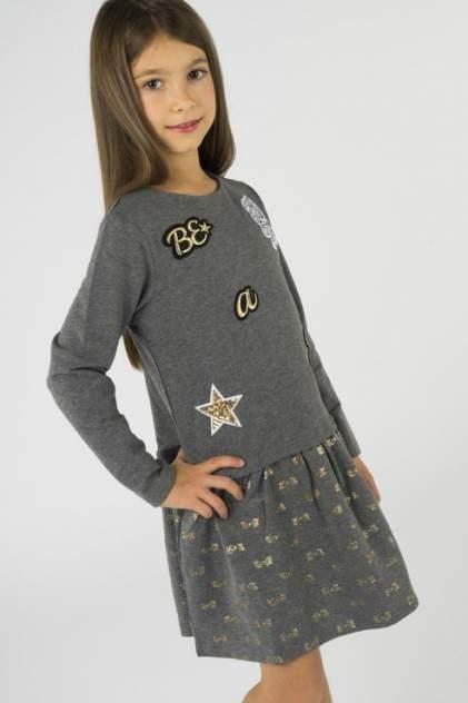 Платье для девочки Button Blue, цв.серый, р-р 110