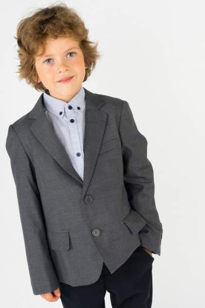 Пиджак для мальчика Gulliver, цв.серый, р-р 134