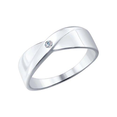 Кольцо женское SOKOLOV из серебра с бриллиантом 87010004 р.19