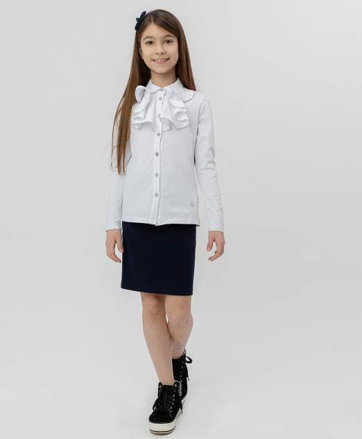 Белая блузка с жабо BUTTON BLUE, модель 220BBGS14080200, размер 146*72*63