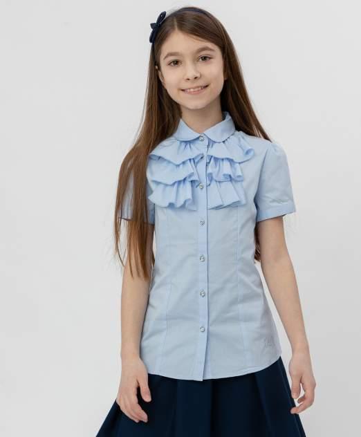 Голубая блузка с жабо BUTTON BLUE, модель 220BBGS22051800, размер 122*60*54