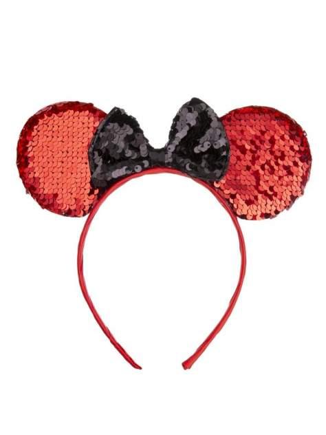 Ободок карнавальный Мышка с пайетками, красная