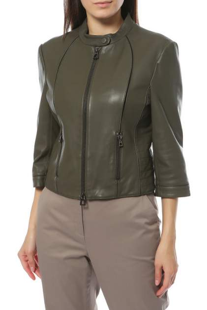 Кожаная куртка женская Diego M 18MD805 зеленая 44