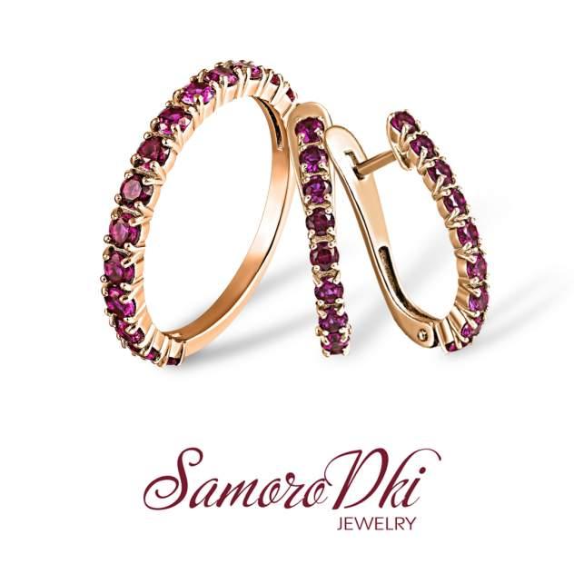 Серьги женские из серебра SamoroDki Jewelry 2-03-006-02з, корунд/рубин