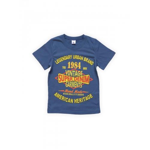Футболка для мальчиков Индиго 1984 Веселый Супер Зайчонок, цв. синий, р-р 128