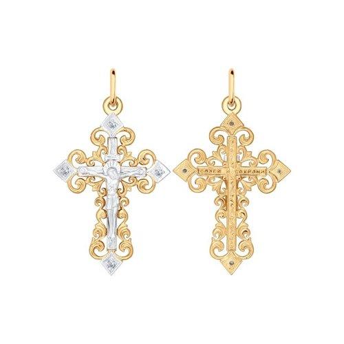 Крест SOKOLOV из комбинированного золота с бриллиантами 1120010