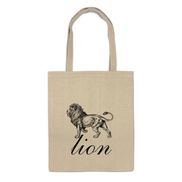 Сумка-шоппер Printio Рисунок льва на бежевом фоне.