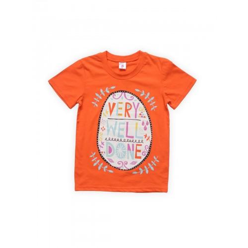 Футболка для девочек Оранжевая Веселый Супер Слоненок, цв. оранжевый, р-р 128