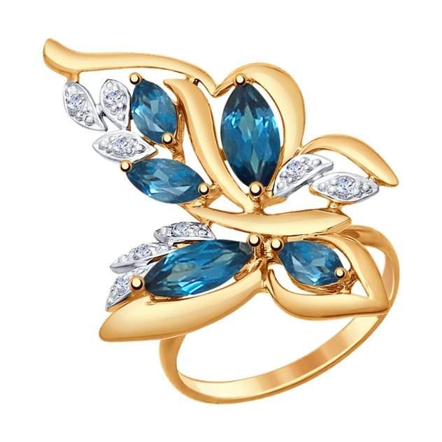Кольцо женское «Бабочка» SOKOLOV из золота с топазами и фианитами 714772 р.17.5