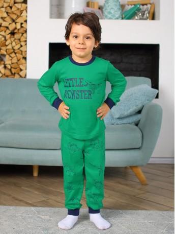 Пижама детская KOTTONI, цв. зеленый