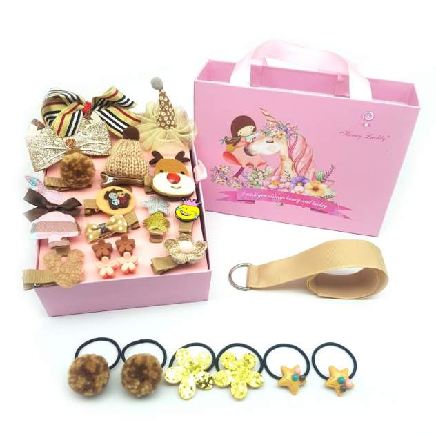 Детский набор заколок для волос Baziator Honey Luckly 24 K кремовый