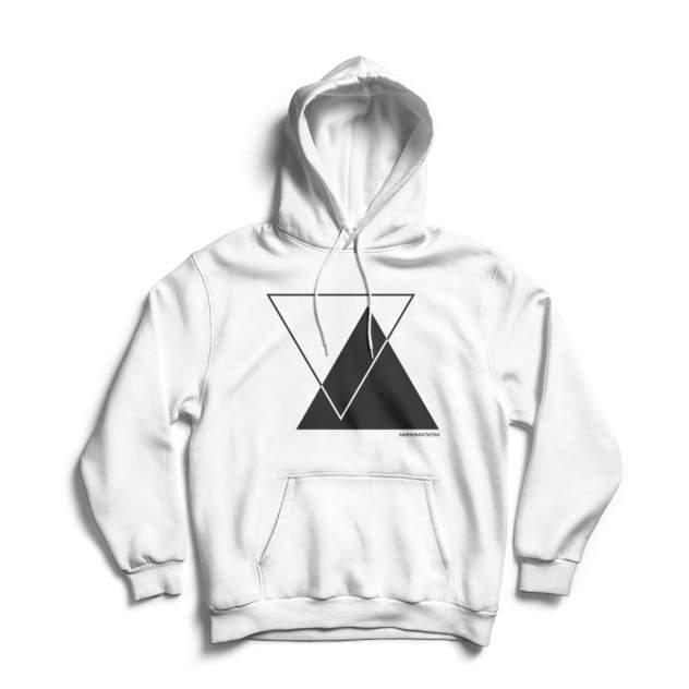 Худи унисекс ЕстьНюанс Треугольники белое XXXL