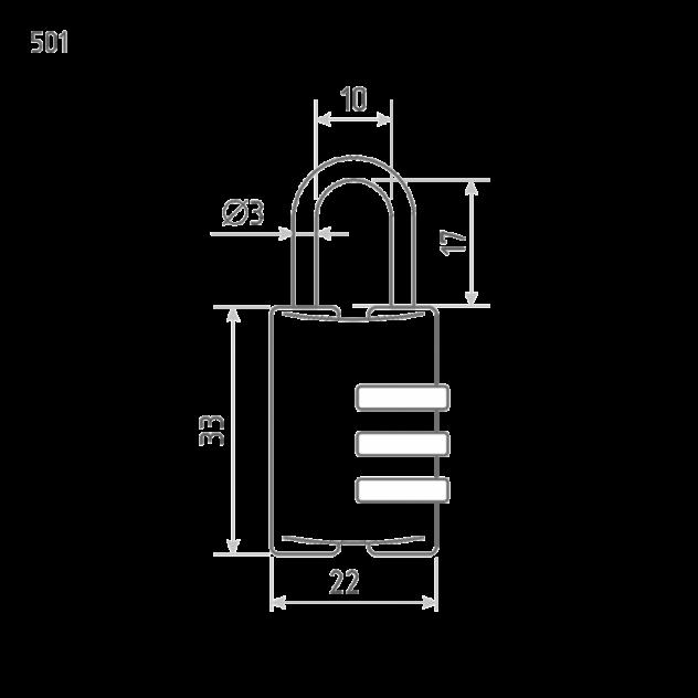 Замок навесной кодовый Нора-М 501 для чемодана - Черный - 22 мм