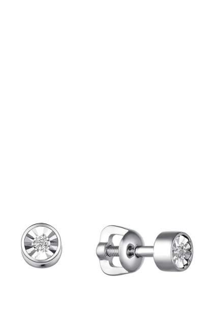 Серьги женские из серебра АЛЬКОР 02-1847, бриллиант