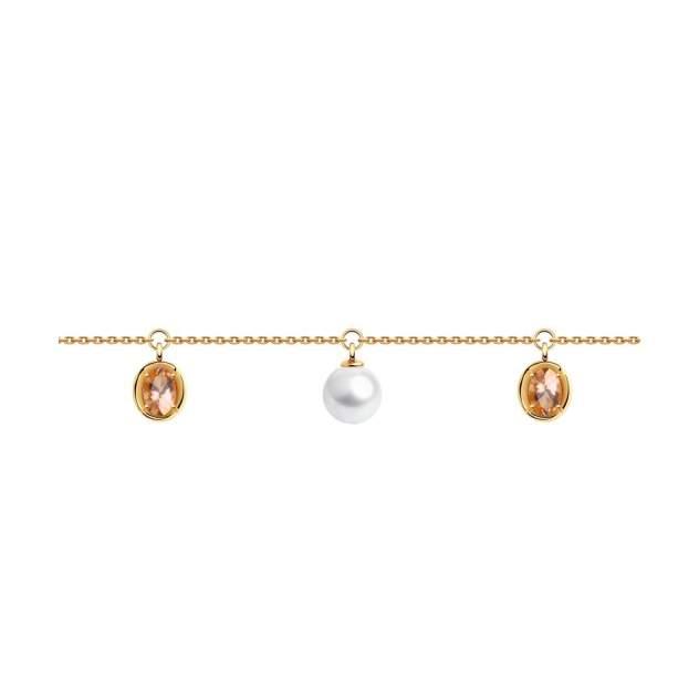 Браслет женский SOKOLOV из золота с жемчугом и ситалами синтетическими 795032 р.18