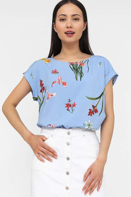 Блуза женская Finn Flare S20-12032 голубая XXL