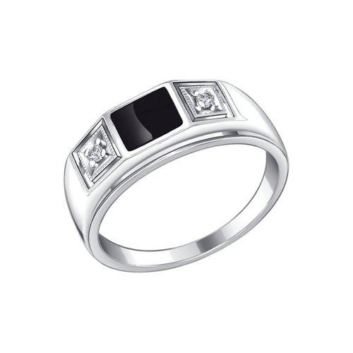 Печатка SOKOLOV из серебра с эмалью с фианитами 94010437 20