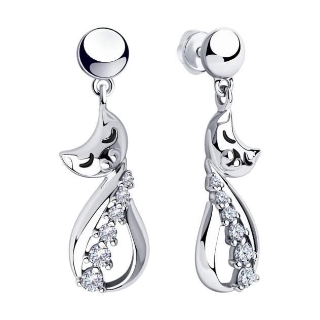 Серьги женские из серебра SOKOLOV 94024031, фианит/эмаль
