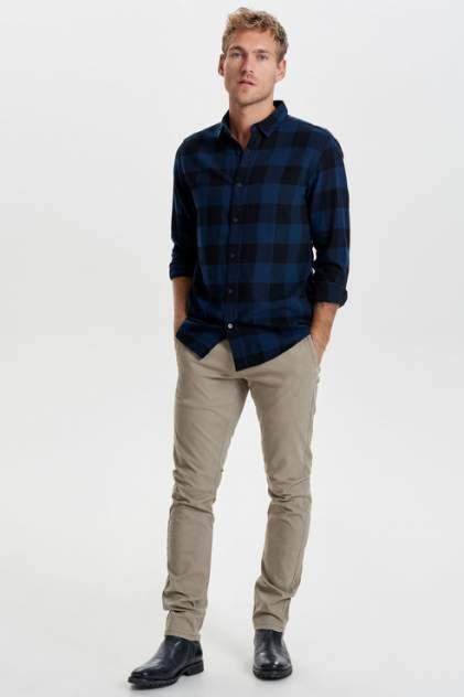 Рубашка мужская ONLY & SONS 22007112 синяя 50