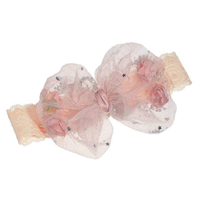 Повязка на голову для малышей Baziator с фатиновым бантом с розами и блестками , розовая