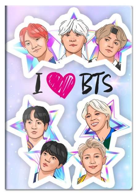 Обложка для паспорта. I love BTS разноцветный