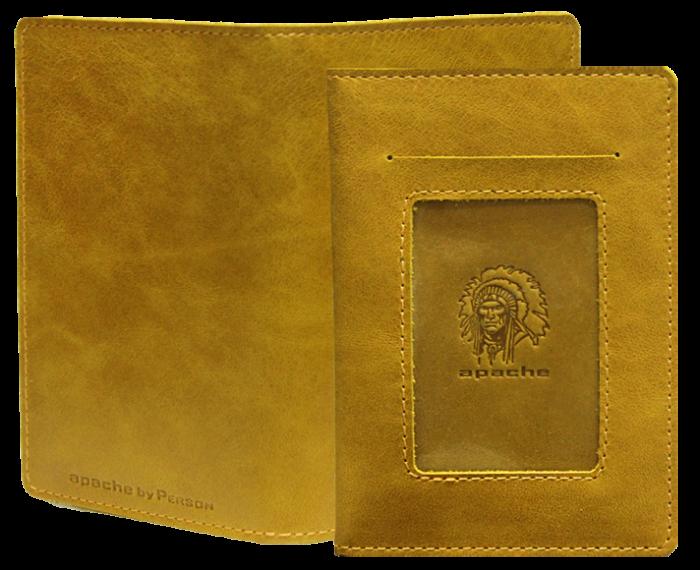 Обложка для автодокументов Apache ОВ-3-A табачно-желтая