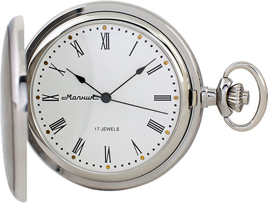 Карманные часы мужские Молния 30102 серебристые