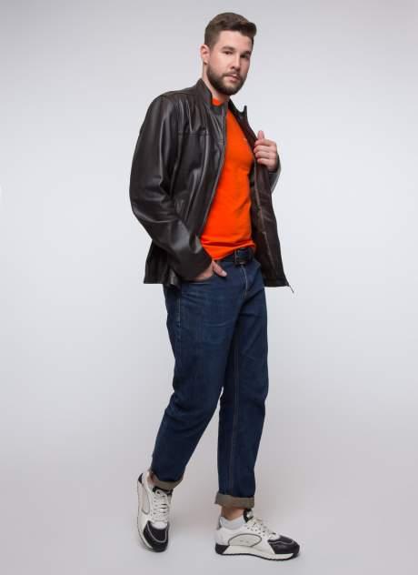 Куртка кожаная мужская КАЛЯЕВ 34685 коричневая 58 RU