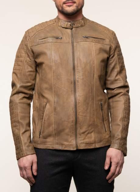 Куртка кожаная мужская КАЛЯЕВ 45650 коричневая 48 RU