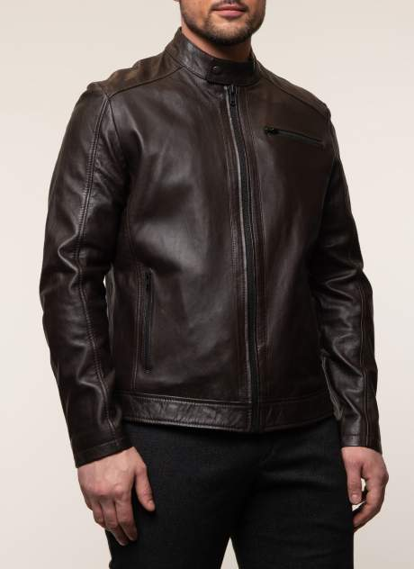 Куртка кожаная мужская КАЛЯЕВ 45366 коричневая 52 RU