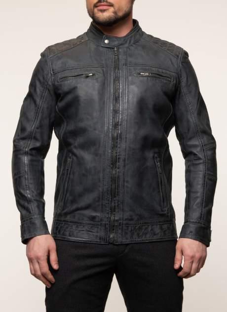 Куртка кожаная мужская КАЛЯЕВ 45649 серая 48 RU