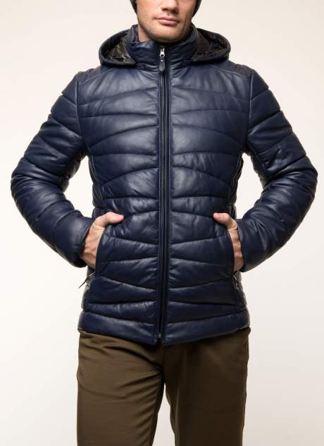 Мужская кожаная куртка Каляев 31249, синий