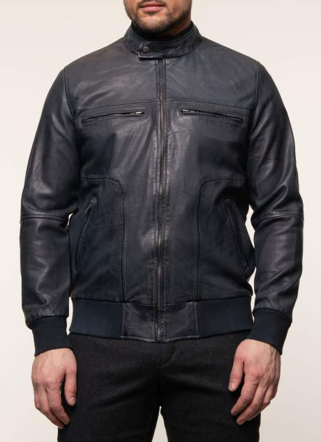 Куртка кожаная мужская КАЛЯЕВ 45648 синяя 52 RU