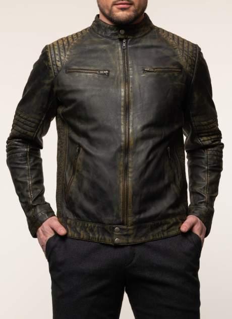 Куртка кожаная мужская КАЛЯЕВ 45647 зеленая 52 RU