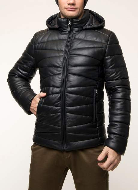 Мужская кожаная куртка Каляев 31249, черный