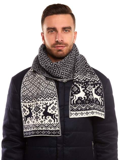 Шарф мужской Scandica Reindeers темно-синий/белый