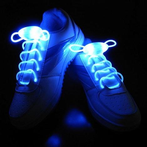 Шнурки для обуви светящиеся с LED подсветкой blue