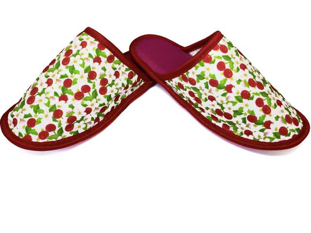 Домашние тапочки женские Jollyjoy закрытые вишни красные 40-41 RU