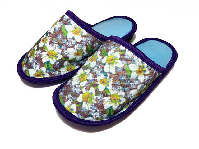 Домашние тапочки женские Jollyjoy фиолетовые цветы фиолетовые 37-38 RU