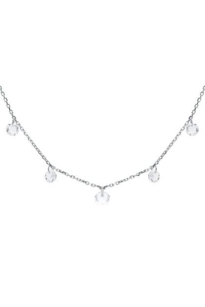 Колье женское серебряное SUNLIGHT S50133-H9W-01 с фианитом