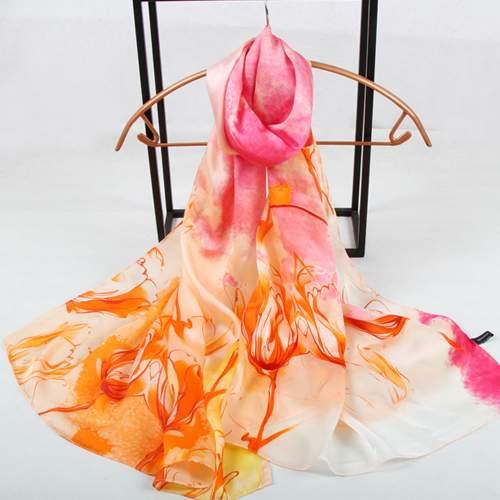 Палантин женский F.Frantelli S16518003-X розовый/оранжевый