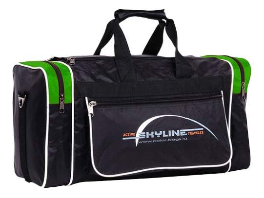 Дорожная сумка Polar 6009 черная/зеленая 46 x 20 x 25