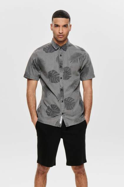 Рубашка мужская ONLY & SONS 22012655 серая M