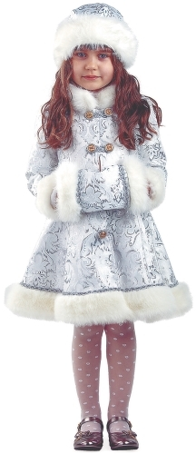 Карнавальный костюм Батик Снегурочка, цв. серебристый р.128