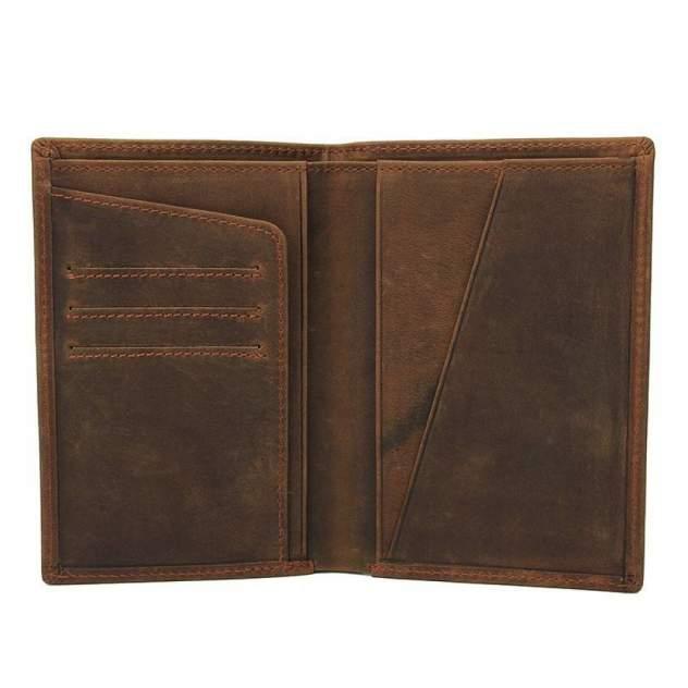 """Обложка для паспорта из натуральной винтажной кожи """"Кошелькофф""""  коричневая 8436BN"""