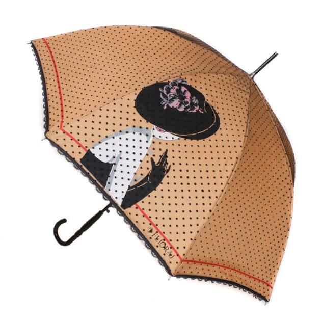 Зонт-трость женский полуавтоматический Flioraj 121201 FJ бежевый