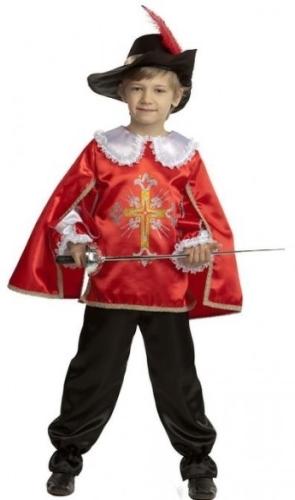Карнавальный костюм Батик Мушкетер, цв. красный; черный р.116