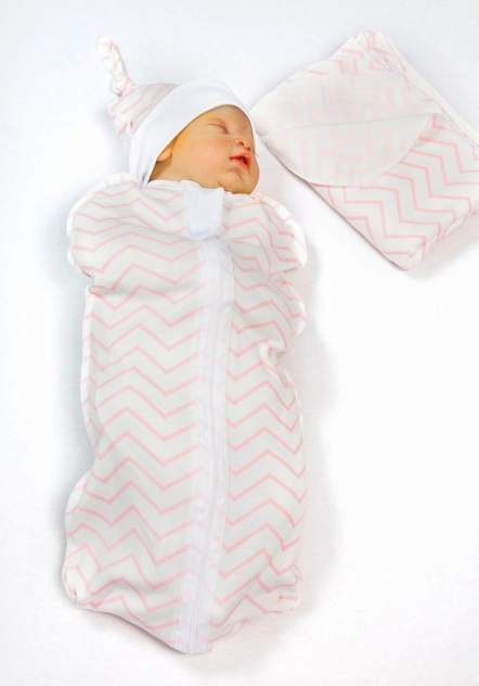 Пеленка-кокон с шапочкой Amarobaby Soft Hugs Зигзаг розовый, р. 68-74