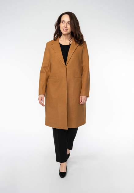 Пальто женское Modis M201W00219C003 коричневое 5XL